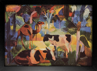 August Macke - Landscape With Cows and Camels - loja online