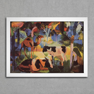 August Macke - Landscape With Cows and Camels - Encadreé Posters