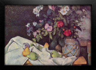 Cezanne - Flowers in a Pot and Fruit - comprar online