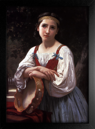 Imagem do Bouguereau - Gypsy Girl With a Basqued Drum