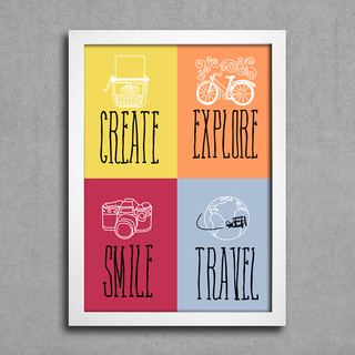 Poster Create Explore Smile Travel - comprar online