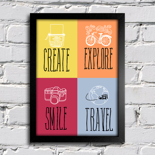 Poster Decorativo Create Smile Travel
