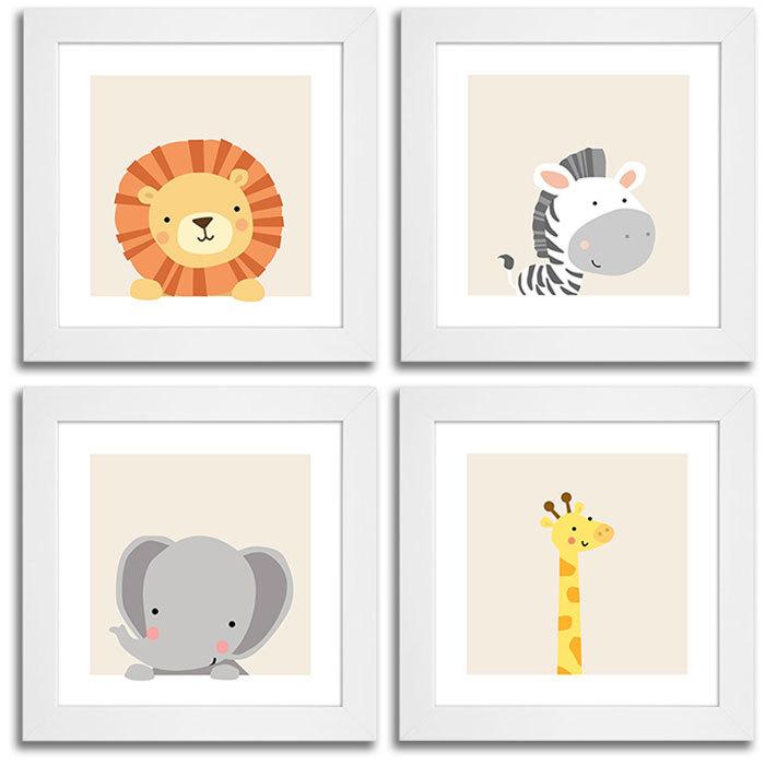 Quadros Para Quarto De Bebe Safari ~ Conjunto De Quadros Animais Saf?ri  Le?o, Zebra, Elefante e Girafa