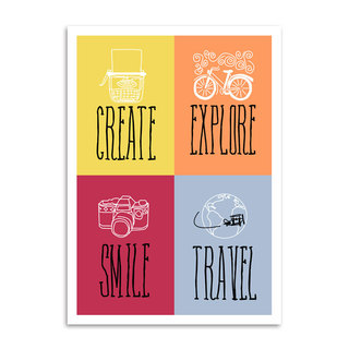 Poster Create Explore Smile Travel na internet