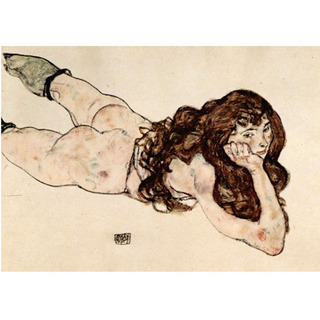 Egon Schiele - Female Nude Lying on her Stomach na internet