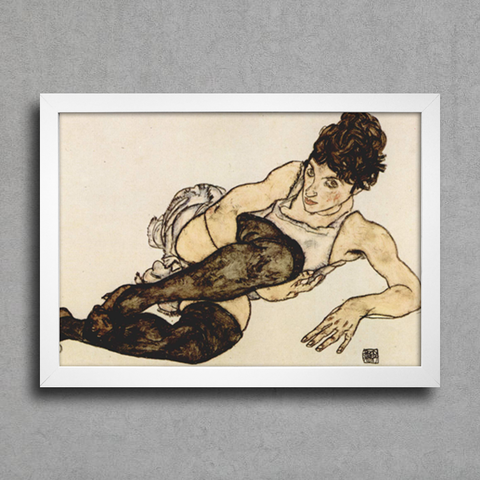 Egon Schiele - Reclining Woman With Green Stockings Adele Harms