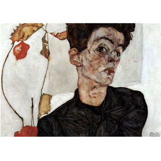 Egon Schiele - Self Portrait With Chinese Lantern Fruits na internet
