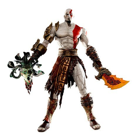 Boneco God of War Kratos em Golden Fleece com Medusa 18 cm Altura - MD01