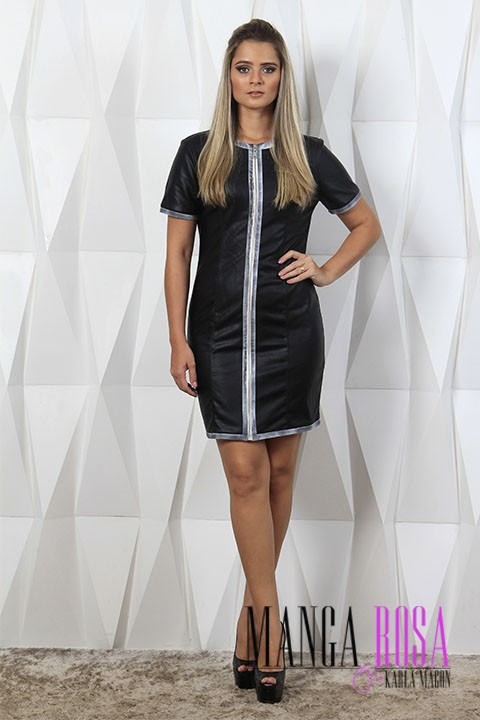 VESTIDO ZIPPING LEATHER MOLETON