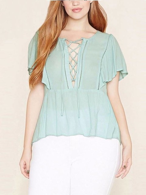 Blusa Lace Up Plus Size - Ref.1030