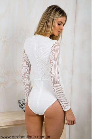 Body com Manga em Renda - Ref.587 - DMS Boutique