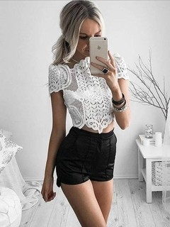 cropped top de renda branco