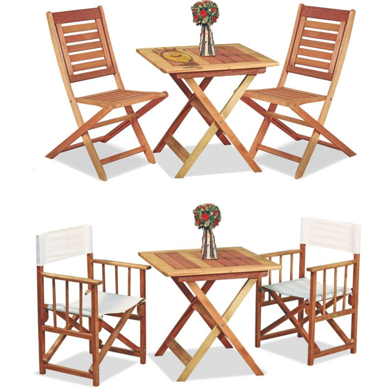 Mesa arandu plegable de madera con 2 sillones o 2 sillas for Mesa plegable para balcon
