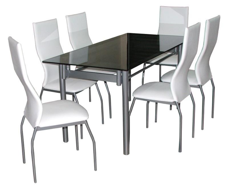 Juego de comedor 160x80 mesa de vidrio 6 sillas morena for Mesa comedor vidrio