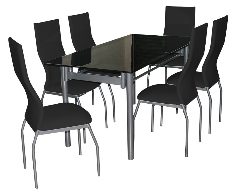 Juego de comedor 160x80 mesa de vidrio   6 sillas morena