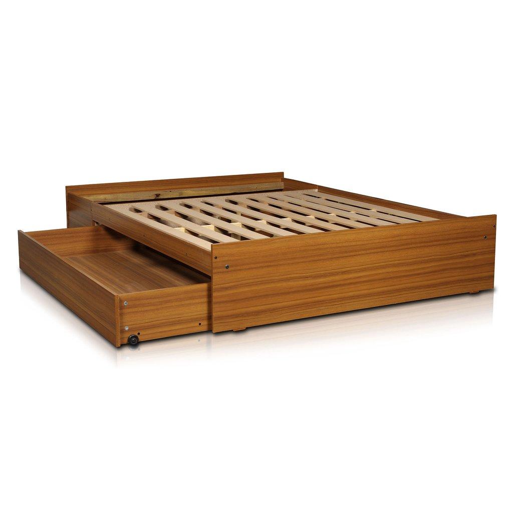 Box sommier base somier cama 2 plazas cajones y baulera for Cama queen size con cajones