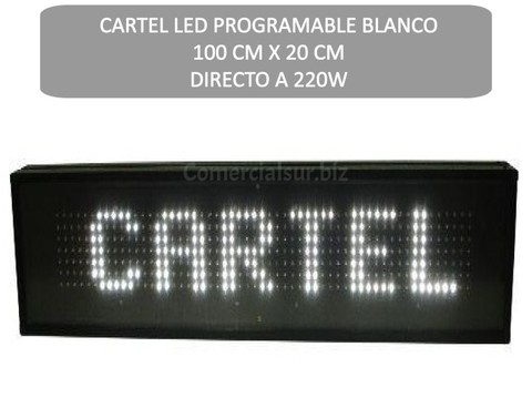 CARTEL LED PROGRAMABLE BLANCO 100CM X 20CM DIRECTO 220W