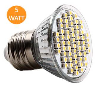 Lampara Dicroica LED 60 Leds 5W E27 Blanco Calido
