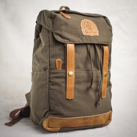 RIDE BACKPACK GREEN (cuero tabaco)