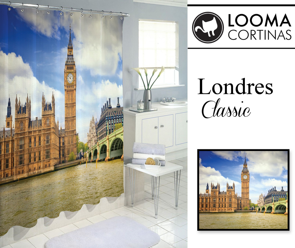 Cortinas De Baño Vintage: Cortinas de Baño – Londres – Londres  Classic – Cortinas de Baño