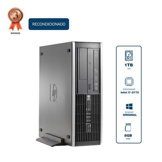 Desktop HP Elite 8300 SFF I7 3770 3.40Ghz, 1TB, 8GB, DVDRW, teclado , mouse WIN10 Pro Recondicionado