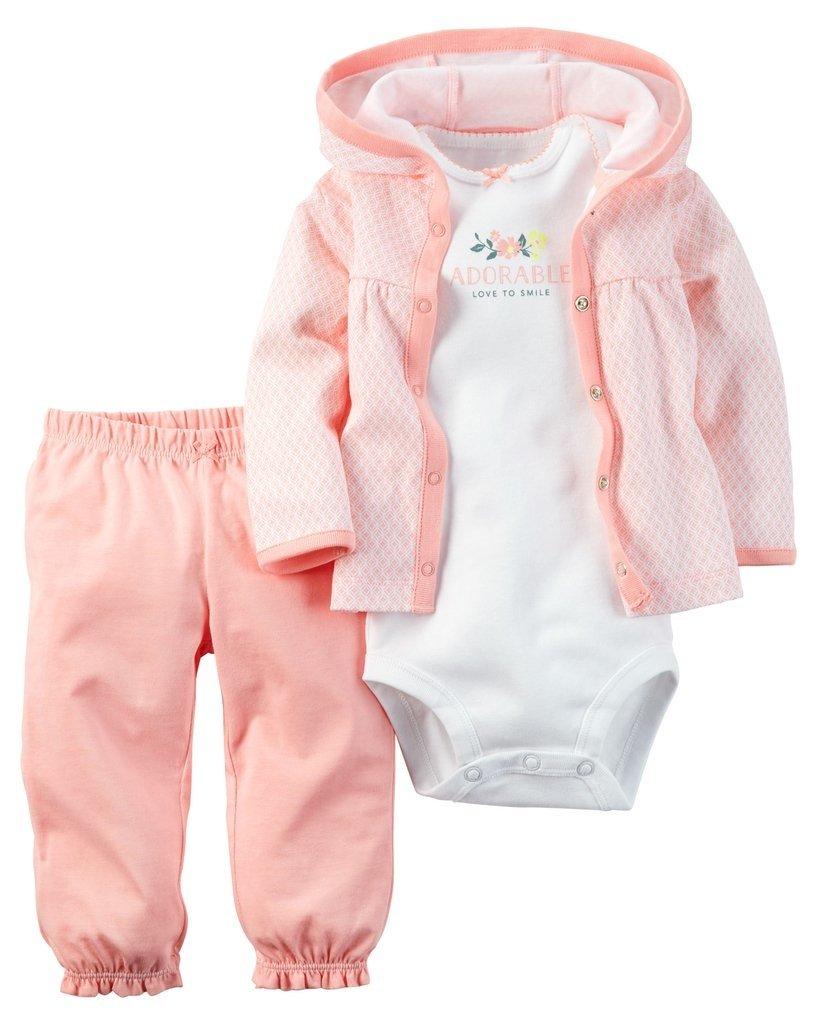 Ropa carters para bebe - Conjunto 3 Piezas chaqueta body blanco pantalón  rosado 7153b85a8d4