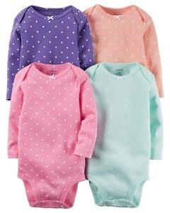 c6c9229f5 Ropa carters para bebe - Niña - Conjunto 4 Piezas Bodies de puntos manga  larga
