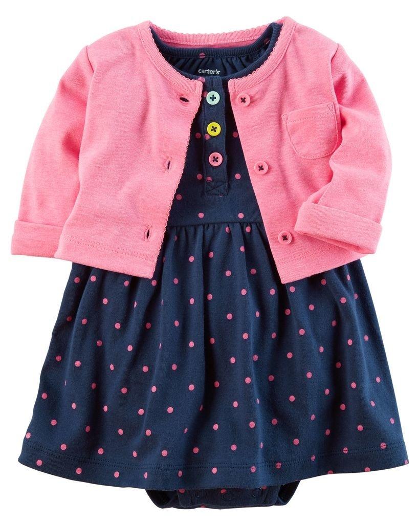 Ropa carters para bebe - Vestido azul oscuro puntos rosados saquito rosado  - Pantaloncillo 460c5cdc15b