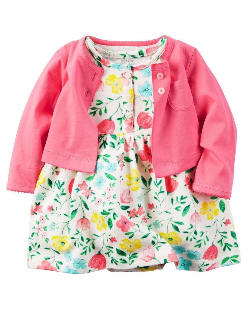 Ropa carters para bebe - Vestido flores saquito rosado - Pantaloncillo 2ed3f34be82