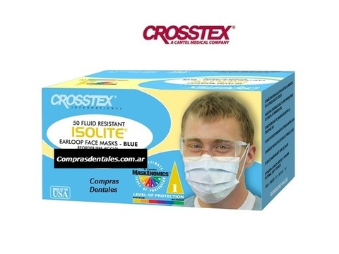 Barbijo descartable CROSSTEX ISOLITE x 50 color celeste - comprar online