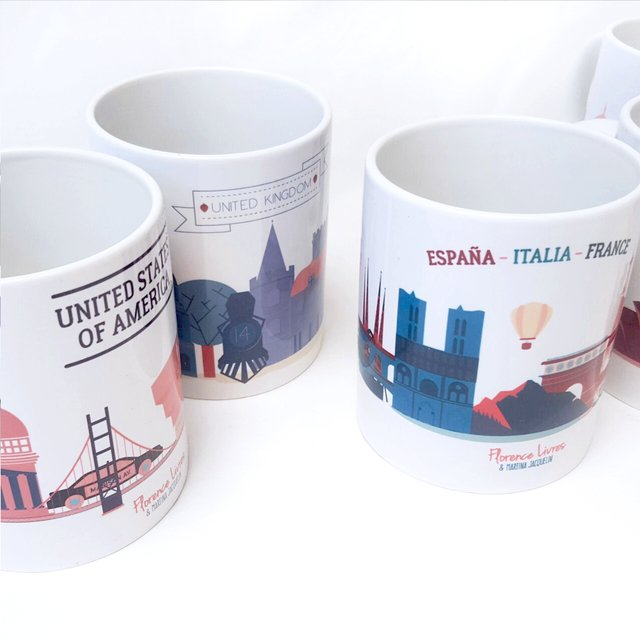 Set x 6 · Tazas Around The World - Florence Livres