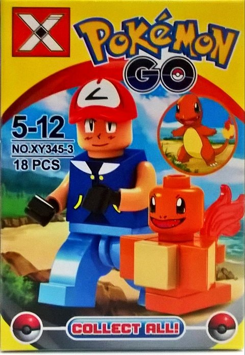 Blocos de Montar Pokemon Ash e Charmander na internet