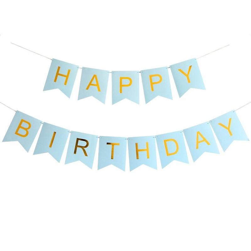 Banderines Happy Birthday Azul Pastel Letra Dorada