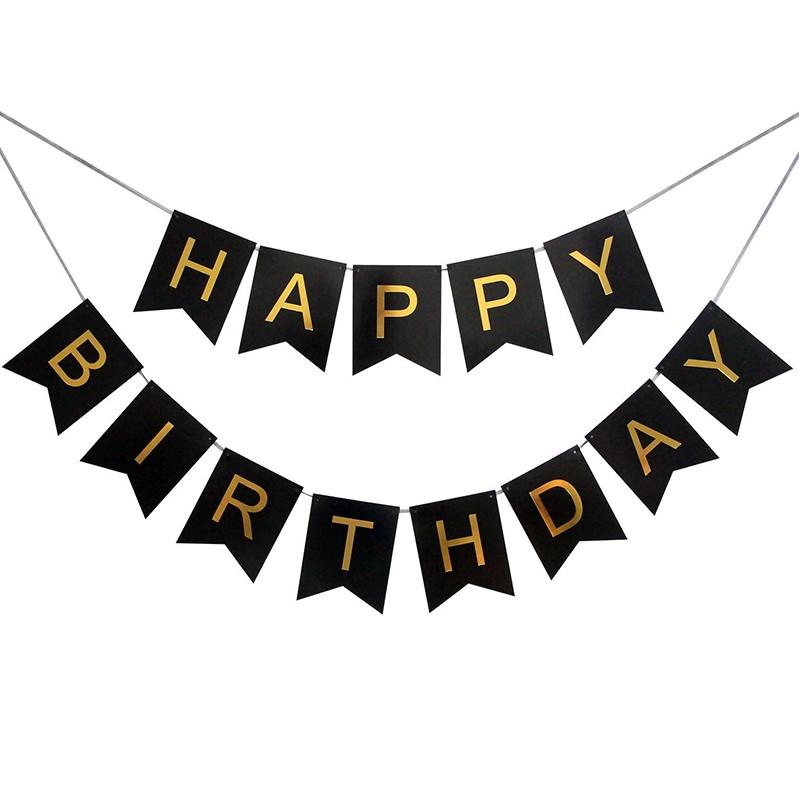 Banderines Happy Birthday Negro Letra Dorada