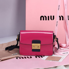 Bolsa Patent Leather Flap Shoulder Bag Miu Miu