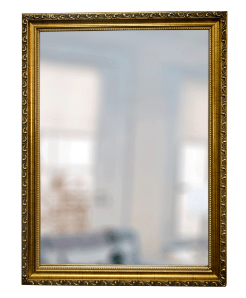 espejo con marco labrado dorado x cm