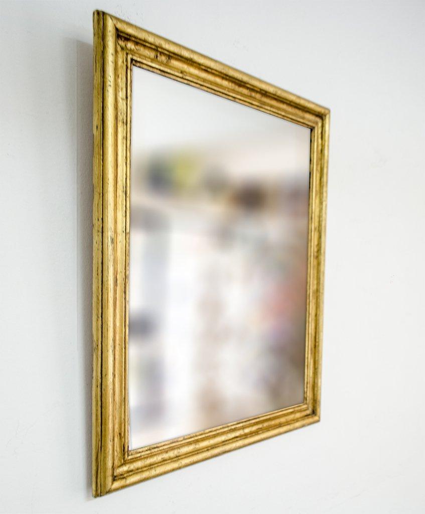 Espejo con marco dorado a la hoja for Espejo marco dorado
