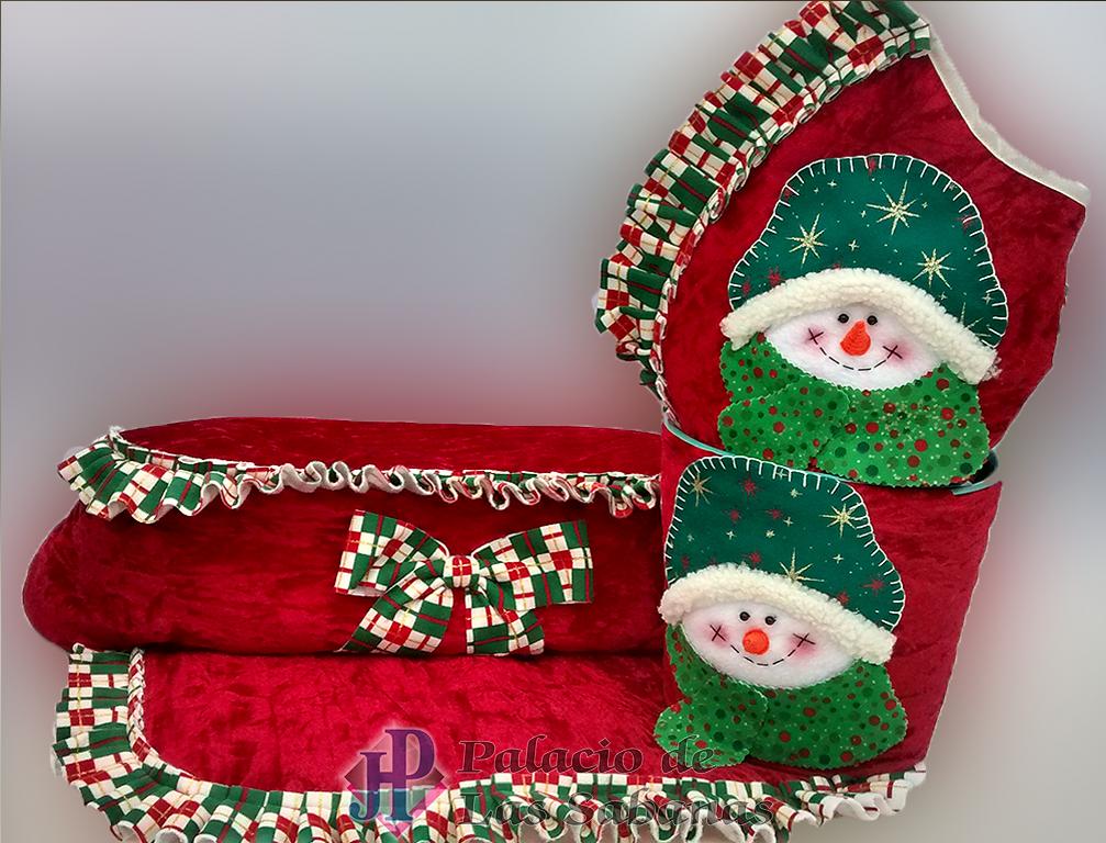 Juego de Baño Navidad Muñeco Nieve Rojo