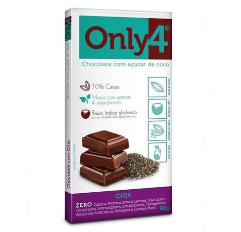Chocolate gourmet com chia 70%  80g (Only4)
