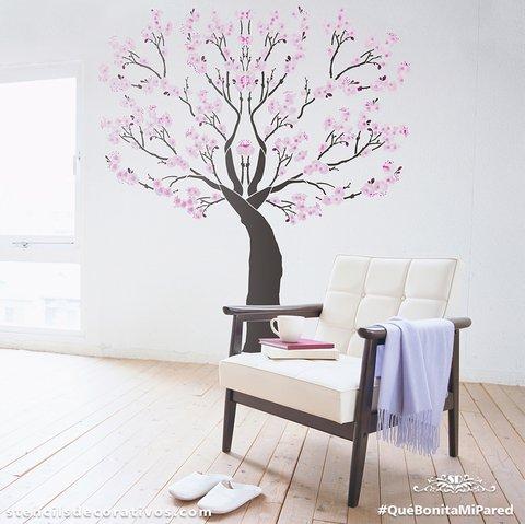 Pin dibujo arbol de cerezo im genes mil on pinterest - Plantillas para decorar paredes ...