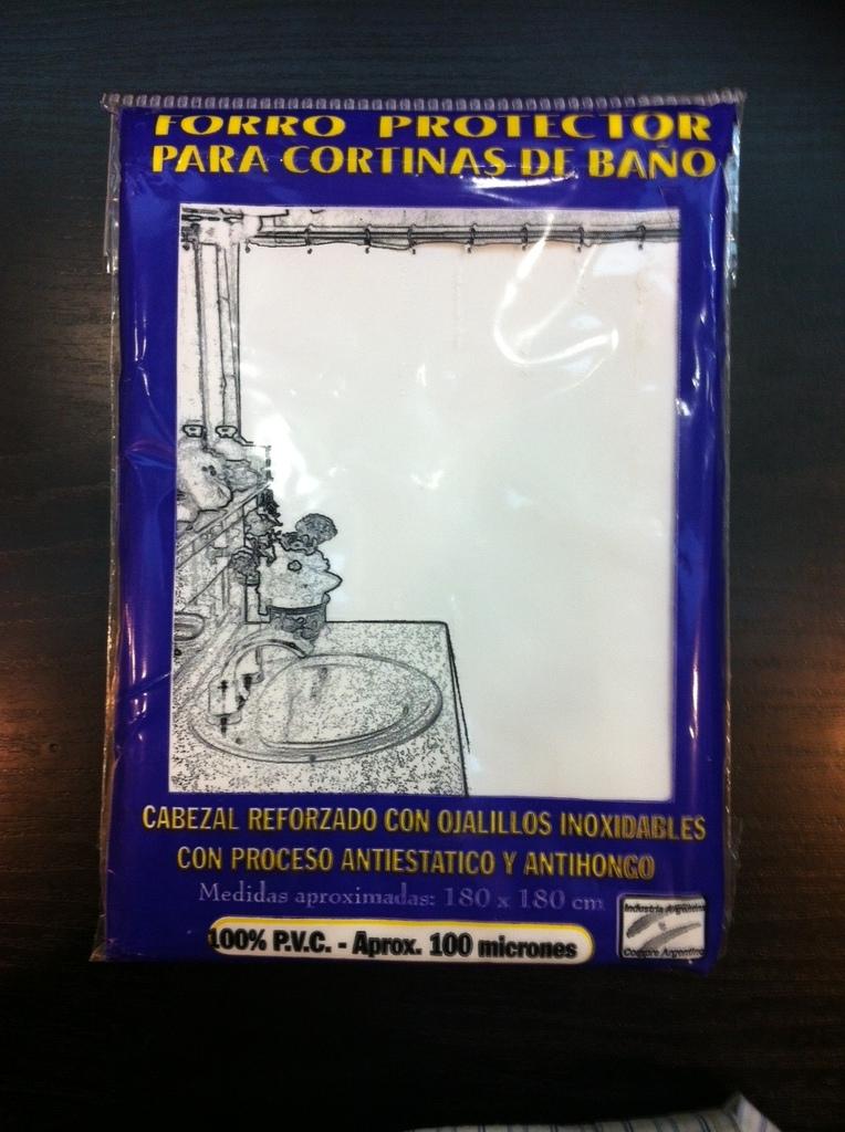 Cortina protectora para cortina de ba o forro protector for Fabrica de ganchos para cortinas de bano