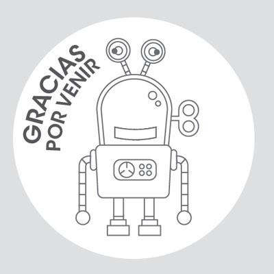 Línea Pack - 12 Stickers redondos - Para pintar - Robot