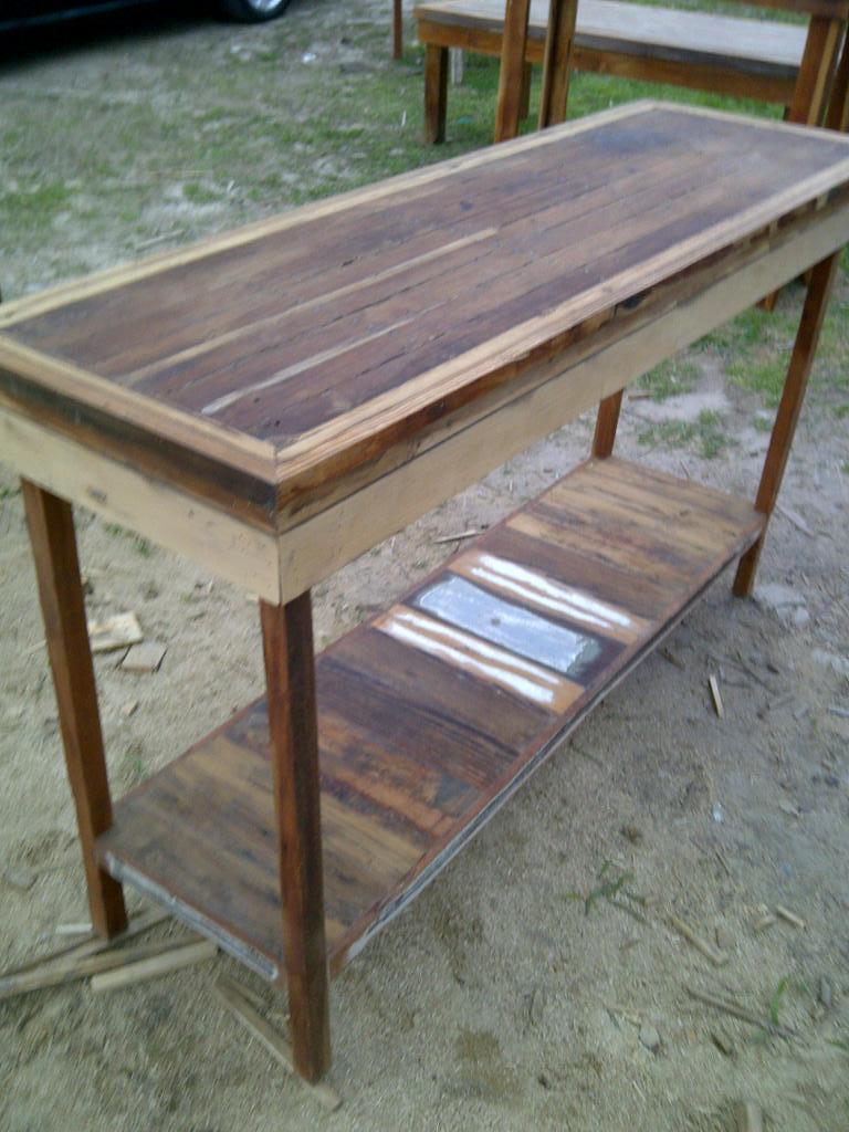 Mesa de arrime madera demolici n terminaci n vintage for Mesa vintage madera
