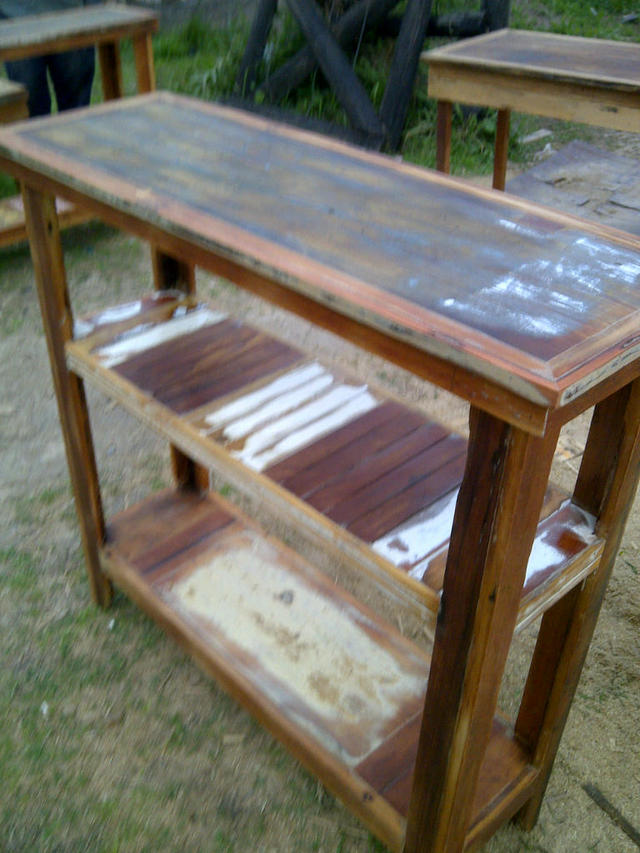 Mesa de arrime madera recuperada vintage for Mesa vintage madera