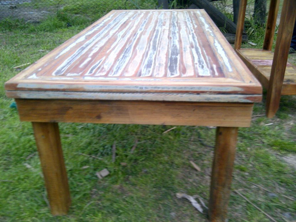 Mesa ratona rectangular de madera recuperada - Mesa rectangular ...