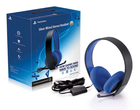 HEADSET SILVER WIRED SONY PS3 - PS4 - PSVITA - PC