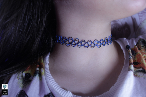 Tattoo Choker Blue/Black + Pulseira