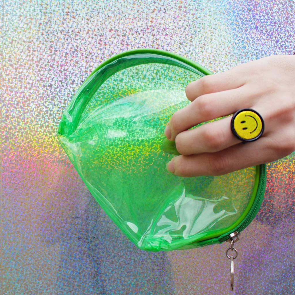 Bolsa De Mao Transparente : Bolsa de m?o transparente verde fluor labjur
