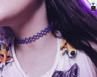 Tattoo Choker Purple/Black + Pulseira