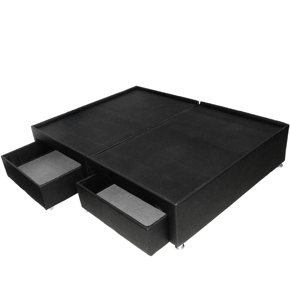 Base cama doble dividida con cajones negro marca muebles for Base de cama queen size con cajones